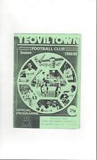 Yeovil Town v Tiverton Town Reserves Football Programme 1988/89