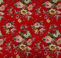"""100% Cotton Red Fabric 44"""" Wide Designer Sewing Crafting Drape Material By Metre"""