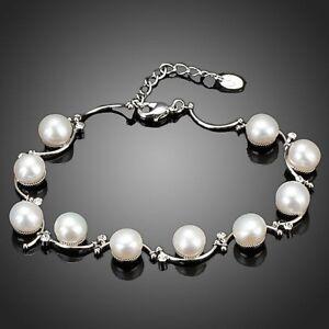 Pearl Bracelet Bangle Clear White Rhinestone Bridal Women Gift Jewellery