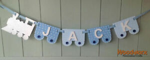 *ANY NAME & COLOUR* Personalised Train Bunting Flags Wooden Painted Letters #15#