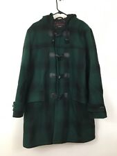 Schott NYC Dur-o-jac Duffel Coat Green Plaid Size Large Toggle Wool Quilted