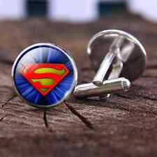 1 pair Superman Cufflinks Mens Accessory Glass Cufflinks Picture jewelry
