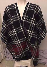 Ike Behar Womens Reversible Wrap Black Red Plaid Fashion Shawl One Size NWT