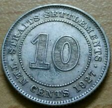 1927 Straits Settlements 10 cents silver coin aEF #F44