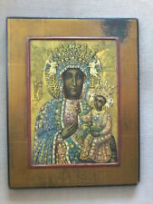 VINTAGE BLACK MADONNA OF CZESTOCHOWA PRIESTS WALL ALTAR ICON PLAQUE II