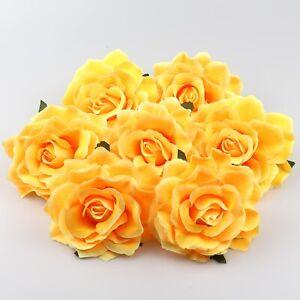 """5-100Pcs Big Yellow 4""""Artificial Silk Rose Flower Heads Bulk Craft Wedding Decor"""