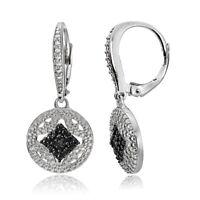 925 Silver Black Diamond Accent Filigree Medallion Dangle Leverback Earrings