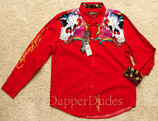 NWT! ED HARDY By Christian Audigier Skull Button Down Shirt-Men's Large-Red