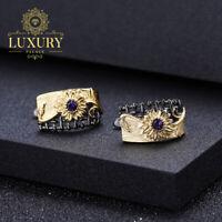 Natural Amethyst Gemstones 925 Sterling Silver Handmade Sun Flower Earrings