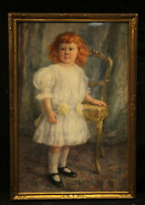 Antique American Watercolor on Paper w Gold Frame Young Girl In White Dress