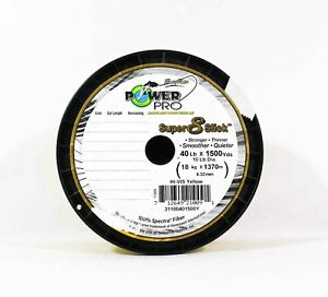 Sale Power Pro Super 8 Slick Spectra Line 40lb by 1500yds Yellow (0091)