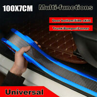 Car Sticker Carbon Fiber Blue Rubber Door Sill Protector Edge Guard Strip 7CM*1M