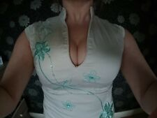 stunning off white Chinese pencil/wiggle dress size 10 by Jane Norman