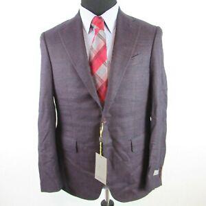 Canali Capri Textured Solid Slim Fit Sport Coat Mens 40S 40 Purple Italy $1495