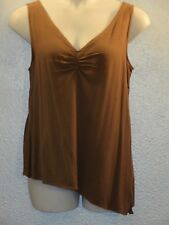 PUNCH Asymmetrical Top Tunic Blouse Taupe Sleeveless~L~ NWT~100% Rayon~Ruched