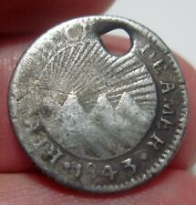 (1843 CR-M (COSTA RICA) 1/2 REAL (SILVER) --RARE---