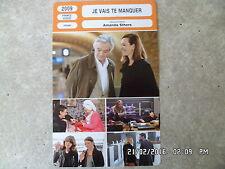 CARTE FICHE CINEMA 2009 JE VAIS TE MANQUER Carole Bouquet Pierre Arditi