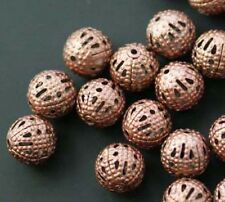 100pcs Round Filigree Spacer Beads Copper Plated For Handmade DIY Jewelry 10mm