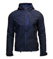Superdry Mens New Hooded Windtrekker Jacket Coat Full Zip Blue Marl