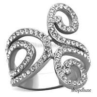 WOMEN'S CLEAR AAA CZ SILVER STAINLESS STEEL WIDE BAND FASHION RING SIZE 5-10