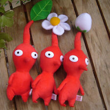 NEW ARRIVAL SET OF 3 NINTENDO ~PIKMIN RED~ BUD/FLOWER/LEAF PLUSH DOLLS GIFT