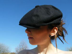 New Flat Cap Gatsby Black Mens Stylish Panel Peak Summer Hat S M L XL