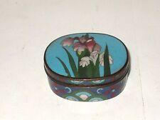 RARE JAPANESE CLOISONNE ENAMEL IRIS DESIGNED JAR BOX