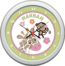 Personalized Greens and Pink Jungle Jill Wall Clock Nursery Bedroom Decor