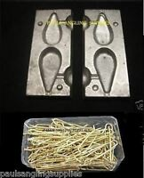 Sea Fishing Lead Mould  Flat Pear 3+4oz & 100 Brass  Loops