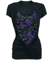 Spiral Direct THE WATCHERS 2IN1 GATHERED KNOT S/S Top/Cat/Purple Roses/Goth/Tee