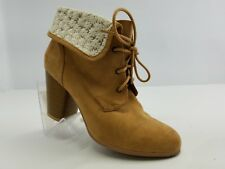 """QUPID Women's Boots Lace-Up Ankle High 2.5"""" Heel Light Brown Botties Sz 9 M"""