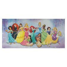 Disney Leinwandbild Alle Prinzessinnen lila Keilrahmen Kinderzimmer 33x70