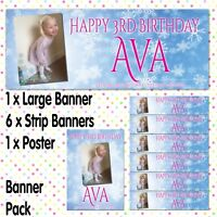 PERSONALISED PHOTO BIRTHDAY PARTY BANNERS FROZEN ICE QUEEN BANNER PACKS A020