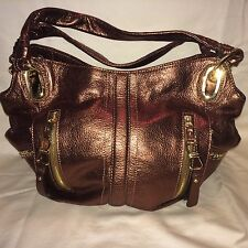 B Makowsky Leather Bronze / Copper Metallic Hobo Bag With Side Zips ~ PRE-OWNED