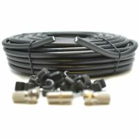 50m Black RG6 Satellite Coax Cable Coaxial Lead For Sky Plus HD TV & F's + Clips