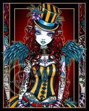 Steampunk Angel Red Head Tattoo Top Hat Circus Layla Signed Myka Jelina Print SE