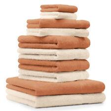 """Betz Lot de 10 serviettes """"Premium"""" couleur beige et orange 100% coton"""