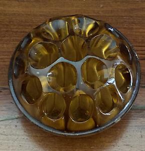Vintage Large Amber Glass Depression Glass Flower Frog Vase 19 Hole