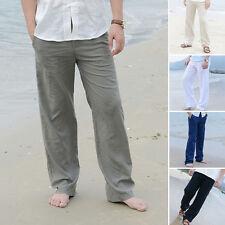 PLUS SIZE Men Comfy Summer Sport Casual Slacks Trousers Linen Loose Long Pants