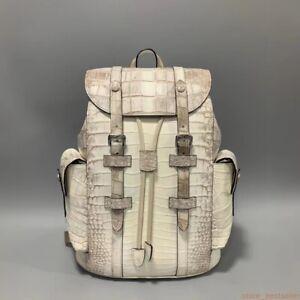 Genuine Crocodile Leather Skin Backpack Shoulder Travel Bag White