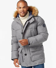 RRP £270 - TOMMY HILFIGER MENS PARKA COAT Grey Quilted Long Puffer Jacket LARGE