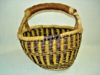 "Bolga Basket Ghana Fair Trade Round Small 6-1/2"" Leather Handle Orange Purple"