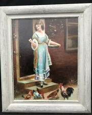 ITALIAN IMPRESSIONIST PAINTING OF LADY FEEDING CHICKENS Signed ? NO RESERVE