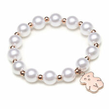 Lady Fashion Cute Pearls Bracelet Stainless Steel Bangle With Trendy Bear