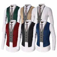 Waistcoat Suit Vest Coat Fashion Tuxedo Men Formal Casual Business Dress Jacket