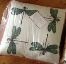 "Pottery Barn Dragonfly Skimmer Pillow 20"" Patio Indoor Outdoor Print New"