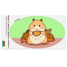 Hamster Eating Stash of Food Car Euro Oval Magnet