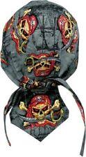 Grey Red Black Pirate Skull Durag Headwrap Skull Cap Sweatband Capsmith CDL112