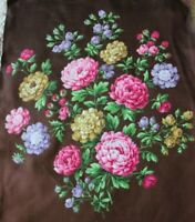 "Antique French Hand Painted Mix Rose Bouquet Textile Design On Fabric~22"" X 14"""