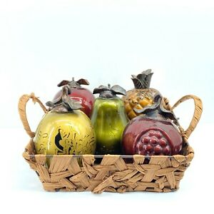 Beautiful Autumn Fall Colored Glass Fruit Set of Five in Basket